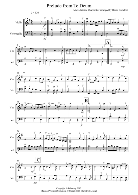 Prelude from Te Deum for Violin and Cello