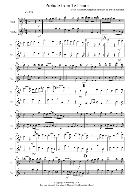 Prelude from Te Deum for Flute Duet