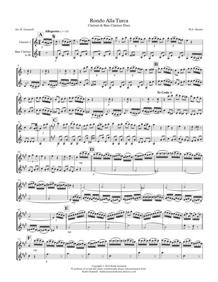 Rondo Alla Turca: Clarinet & Bass Clarinet Duet