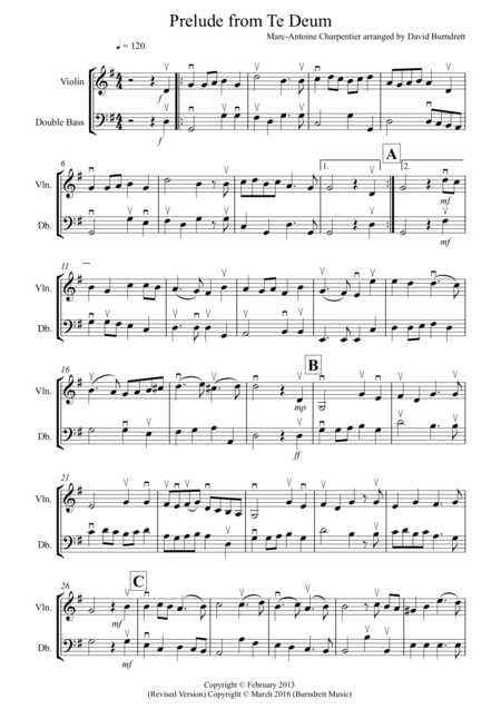 Prelude from Te Deum for Violin and Double Bass