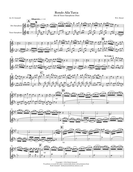 Rondo Alla Turca: Alto & Tenor Saxophone Duet