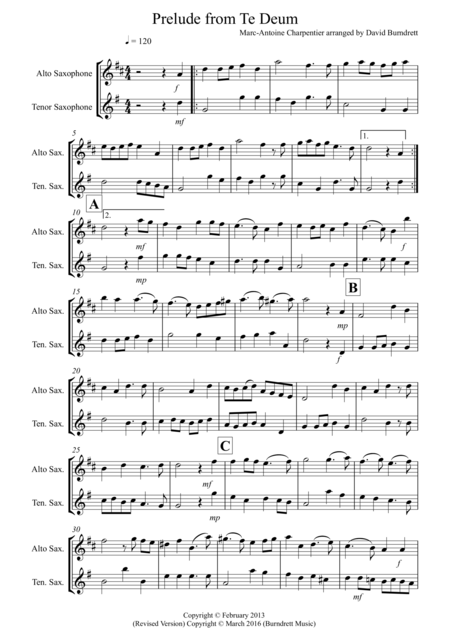 Prelude From Te Deum for Alto and Tenor Saxophone