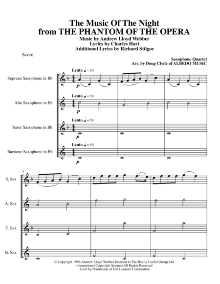 The Music Of The Night from THE PHANTOM OF THE OPERA for Saxophone Quartet