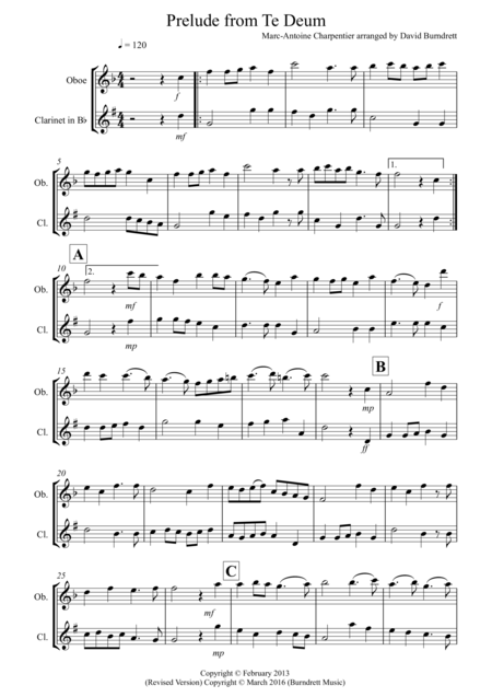 Prelude from Te Deum for Oboe and Clarinet Duet