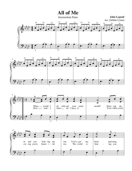 All of Me, by John Legend, Intermediate Solo Piano Arrangement by Debbie Center