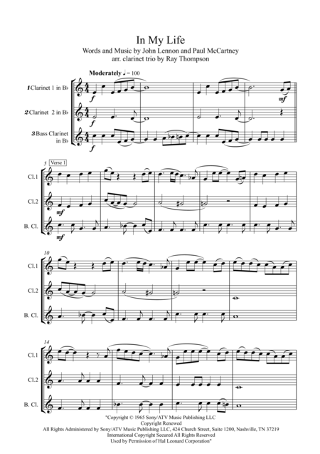 Beatles: In my life - Clarinet Trio