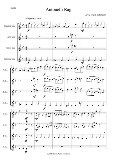 Antonelli Rag for saxophone quartet