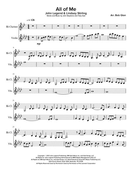 Download All Of Me - John Legend u0026 Lindsey Stirling Version (Clarinet u0026 Violin) Sheet Music By ...
