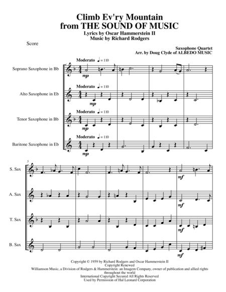 Climb Ev'ry Mountain from THE SOUND OF MUSIC for Saxophone Quartet