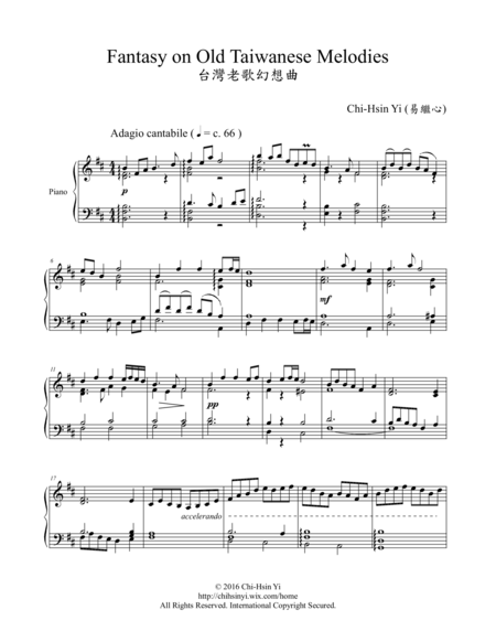 Fantasy on Old Taiwanese Melodies