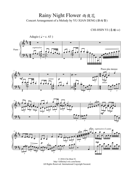 """Rainy Night Flower"" Concert-Arrangement"