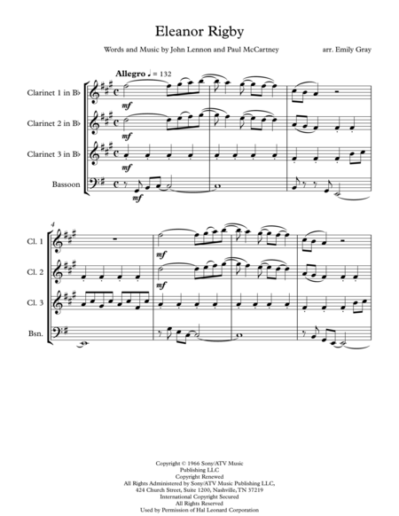 Eleanor Rigby (3 Clarinets and Bassoon)