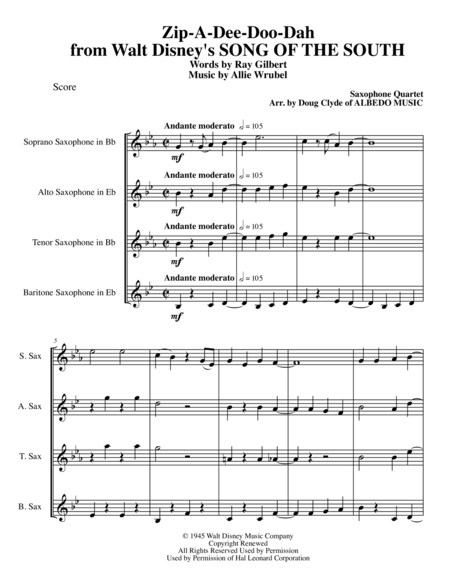 Zip-A-Dee-Doo-Dah from Walt Disney's SONG OF THE SOUTH for Saxophone Quartet
