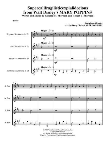 Supercalifragilisticexpialidocious from Walt Disney's MARY POPPINS for Saxophone Quartet