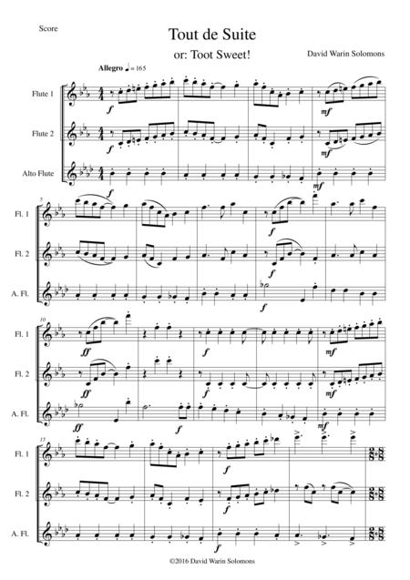 Tout de Suite (or Toot Sweet) for flute trio (2 flutes 1 alto flute)