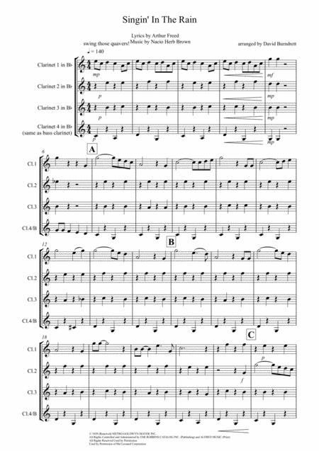 Singin' In The Rain for Clarinet Quartet