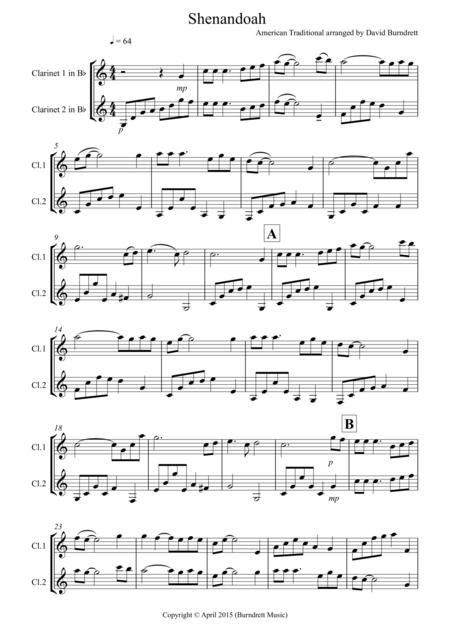 Shenandoah for Clarinet Duet