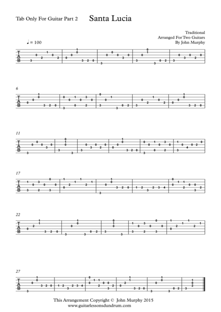 Santa Lucia For Guitar Duo Tab Only For Guitar Part 2