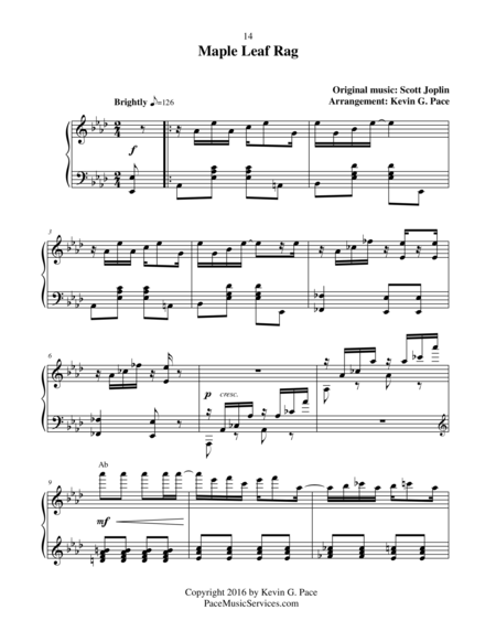 Maple Leaf Rag - moderate level piano solo