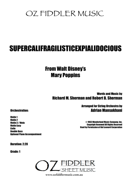 Supercalifragilisticexpialidocious, from Mary Poppins, arranged for String Orchestra