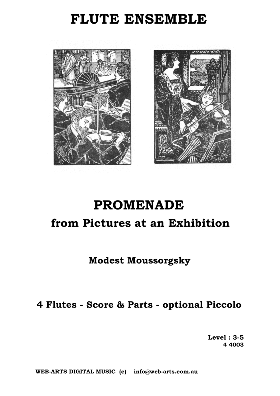 MOUSSORGSKY PROMENADE from Pictures at an Exhibition for 4 flutes
