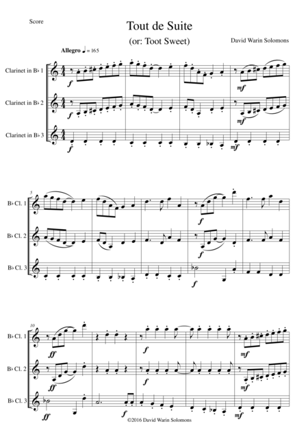 Tout de Suite (or Toot Sweet) for clarinet trio (3 B flat clarinets)