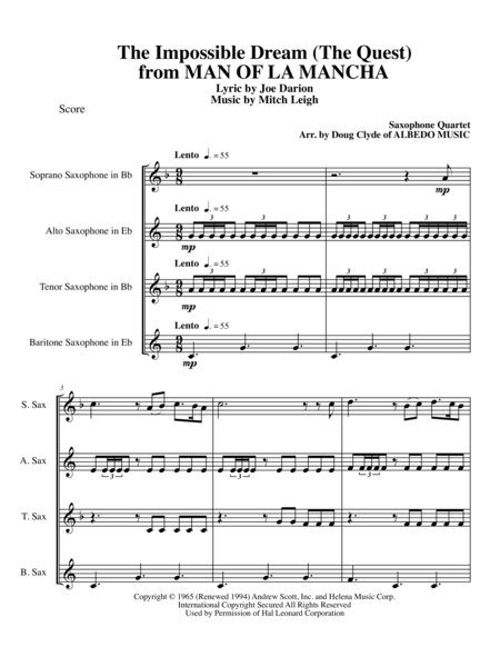 The Impossible Dream (The Quest) from MAN OF LA MANCHA for Saxophone Quartet