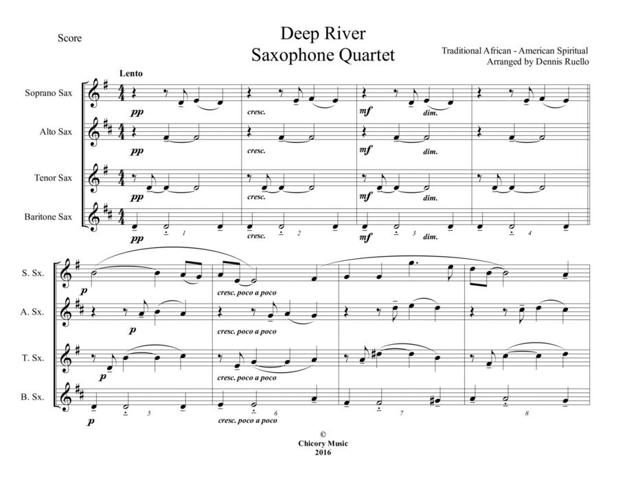 Deep River - Sax Quartet (SATB / AATB) - Intermediate