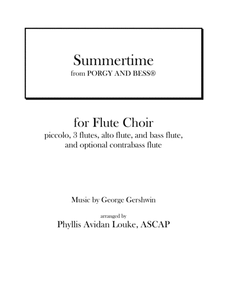 Summertime from Porgy and Bess for Flute Choir