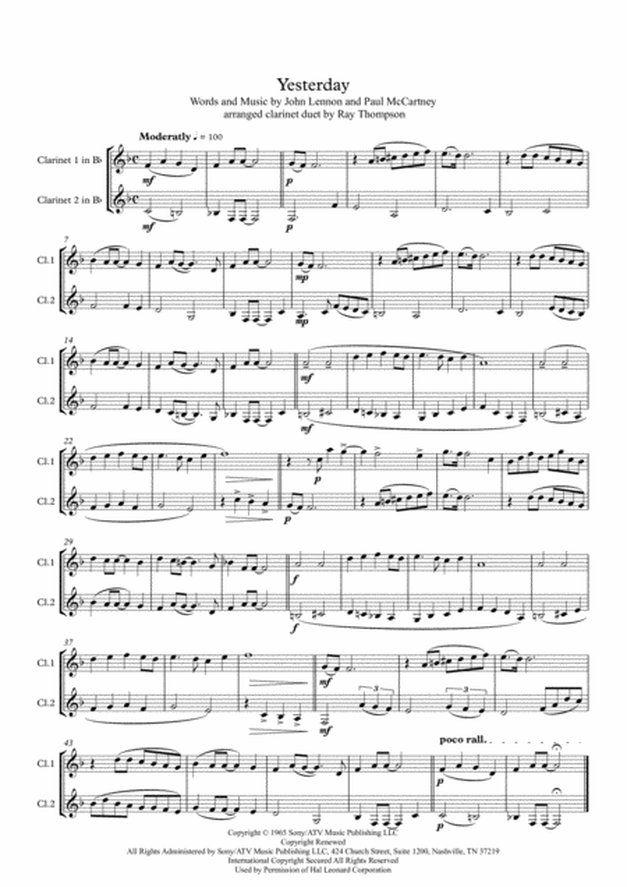 Beatles: Yesterday - clarinet duet