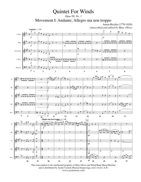 Quintet for Winds, op. 88, no. 1