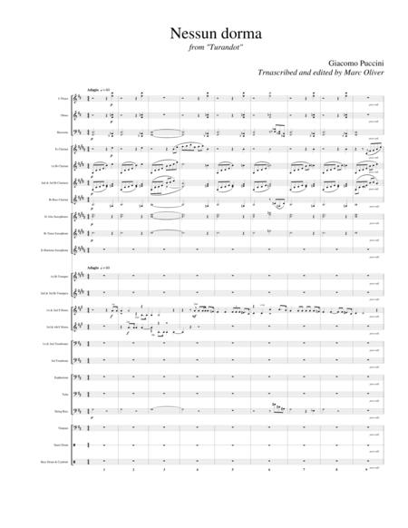 Nessun Dorma (Horn Quartet with Comcert Band)