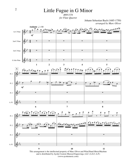 Little Fugue in G minor (for Flute Quartet)