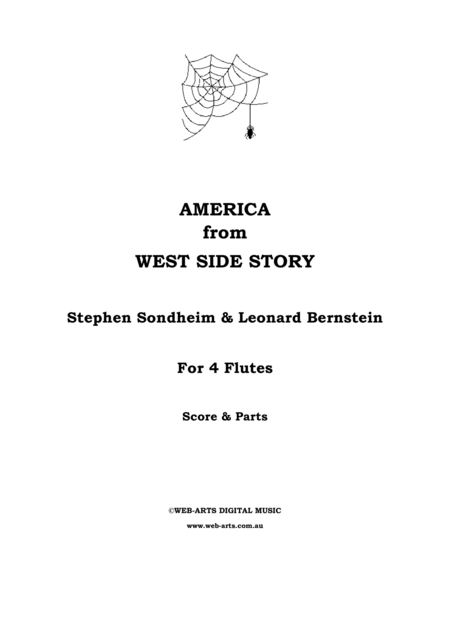 AMERICA from WEST SIDE STORY for 4 flutes
