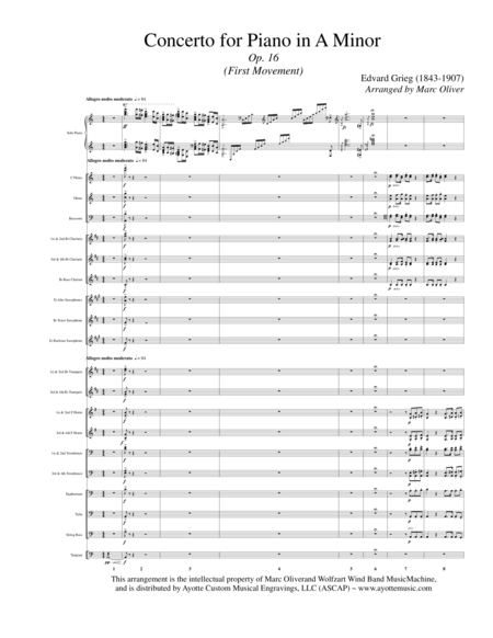 Piano Concerto in A Minor (First Movement) - Concert Band TRanscription