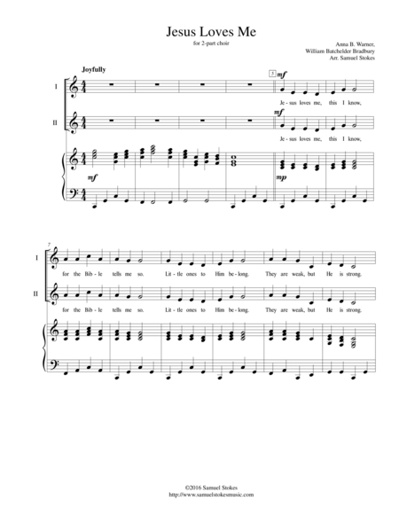 Jesus Loves Me - for 2-part choir with piano accompaniment