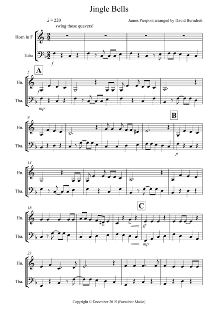 Jingle Bells (Jazzy Style!) for French Horn and Tuba Duet