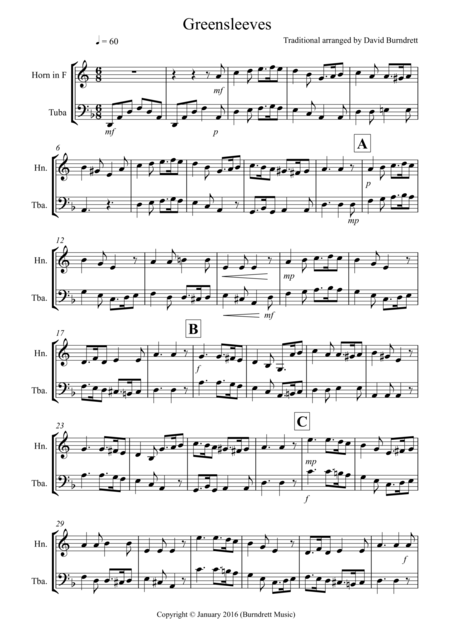 Greensleeves for French Horn and Tuba Duet