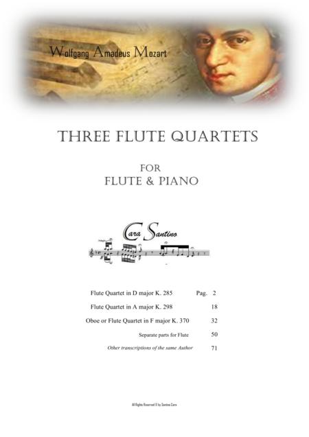 Mozart -  3 Flute Quartets for Flute and Piano