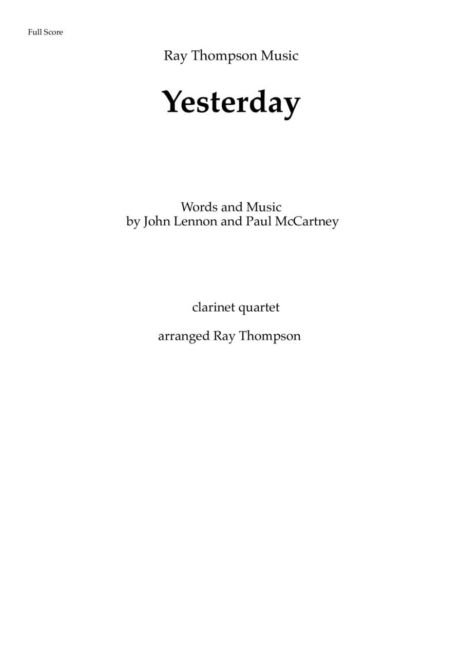 The Beatles: Yesterday - clarinet quartet