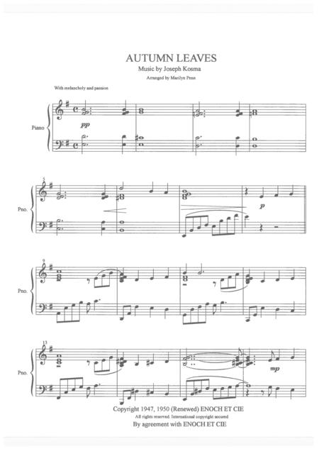 Autumn leaves sheet music Piano