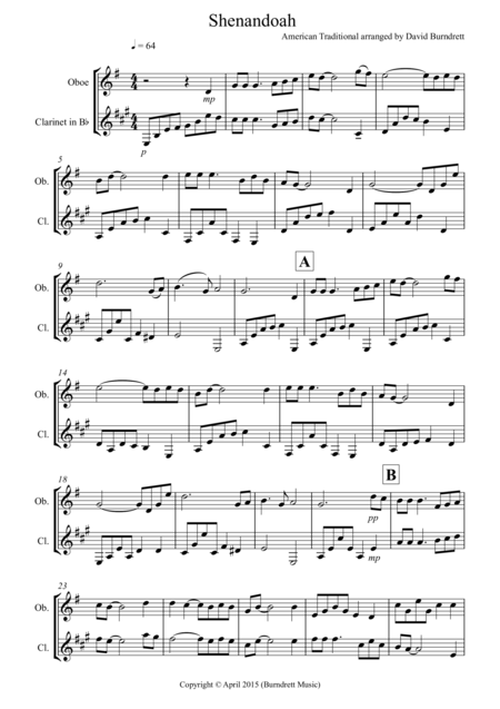 Shenandoah for Oboe and Clarinet Duet