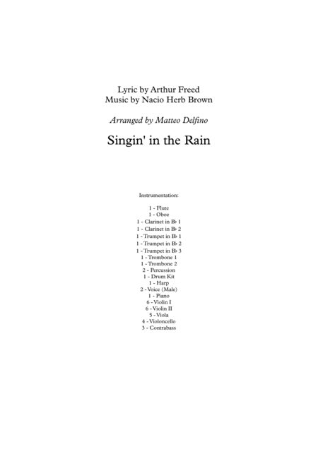 Singin' in the Rain (Solo Voice and Full Orchestra)