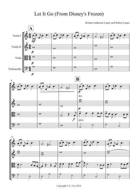 Let It Go (From Disney's Frozen) for string quartet