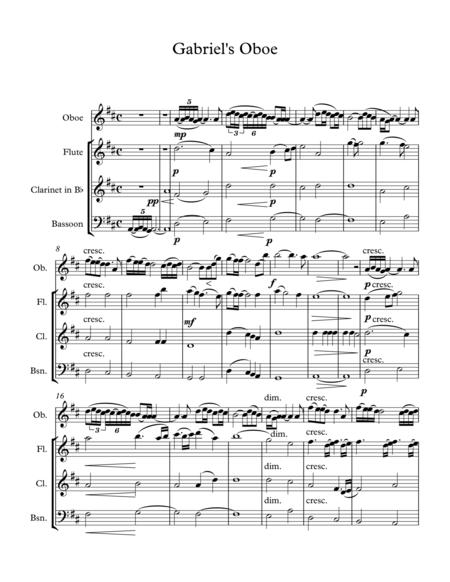 Nella Fantasia(Gabriel's Oboe) Wind Quartet