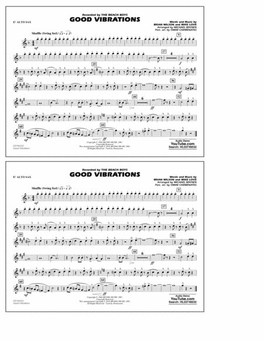 Good Vibrations - Eb Alto Sax
