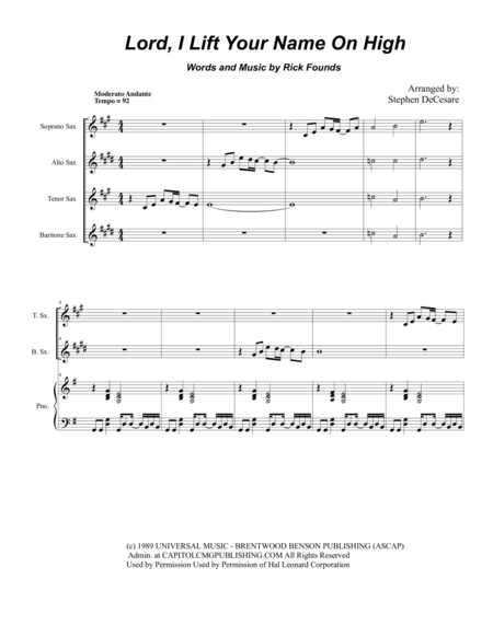 Lord, I Lift Your Name On High (for Saxophone Quartet)