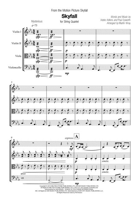 Skyfall - for String Quartet