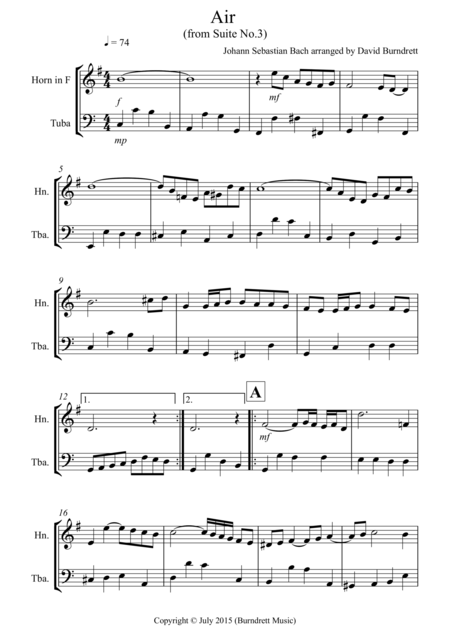 Air on a G String for French Horn and Tuba Duet