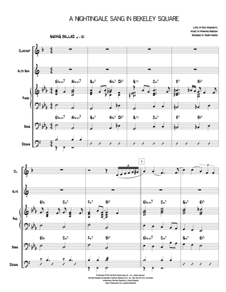 A Nightingale Sang In Berkeley Square (Clarinet, Alto Sax, Piano, Drums and optional Bass)